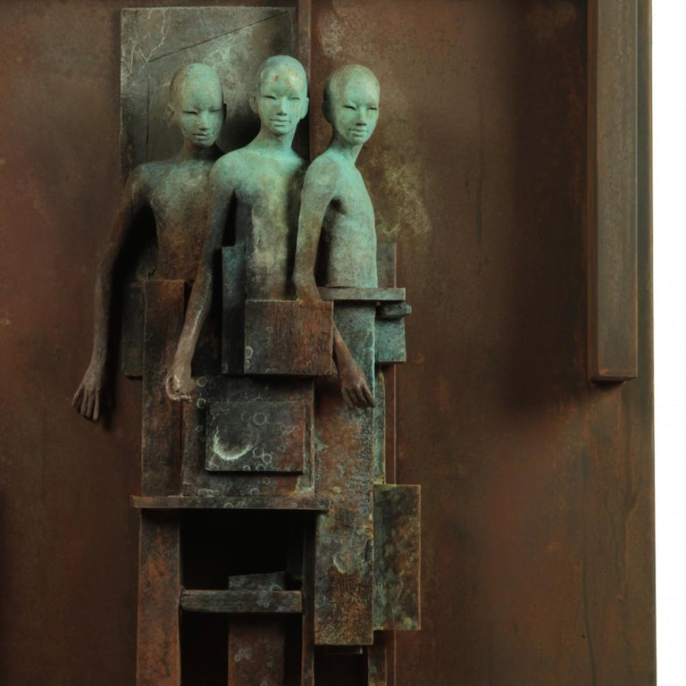 Escena III - Bronze and Steel Wall Sculpture with Three Abstracted Figures 3