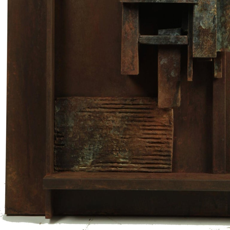 Escena III - Bronze and Steel Wall Sculpture with Three Abstracted Figures 4