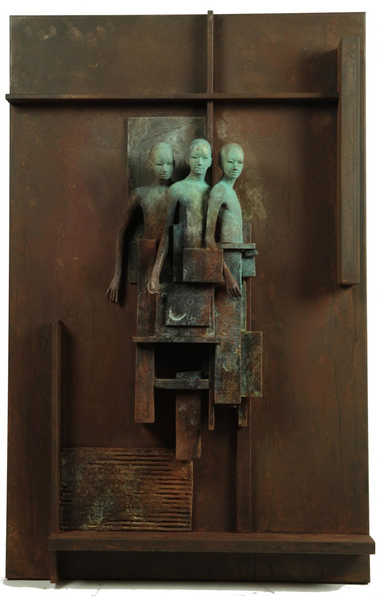 Escena III - Bronze and Steel Wall Sculpture with Three Abstracted Figures 1