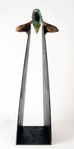 Grito III - Bronze and Steel Modern Figurative and Abstract Geometric Figure
