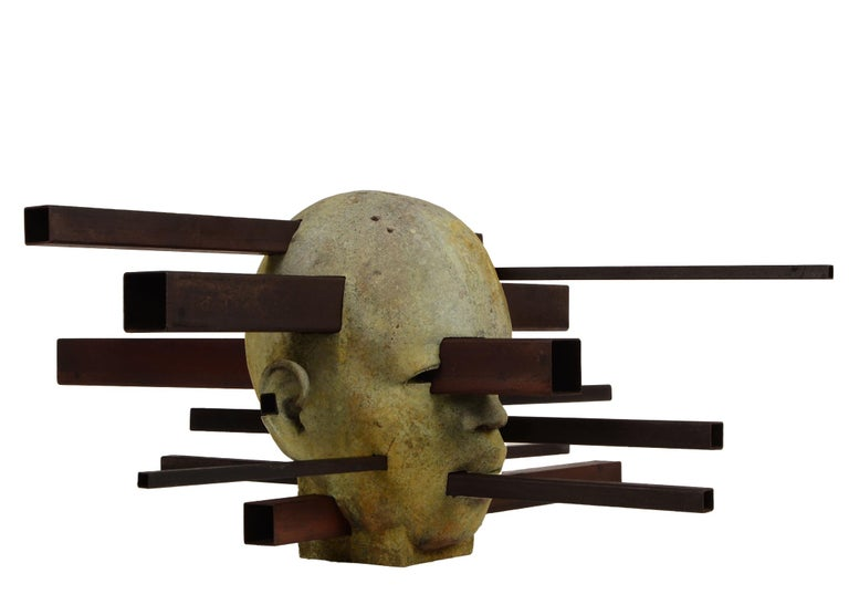 Interaction - Abstracted Bronze Bust, Rich Green Patina, Rusted Steel - Sculpture by Jesus Curia Perez