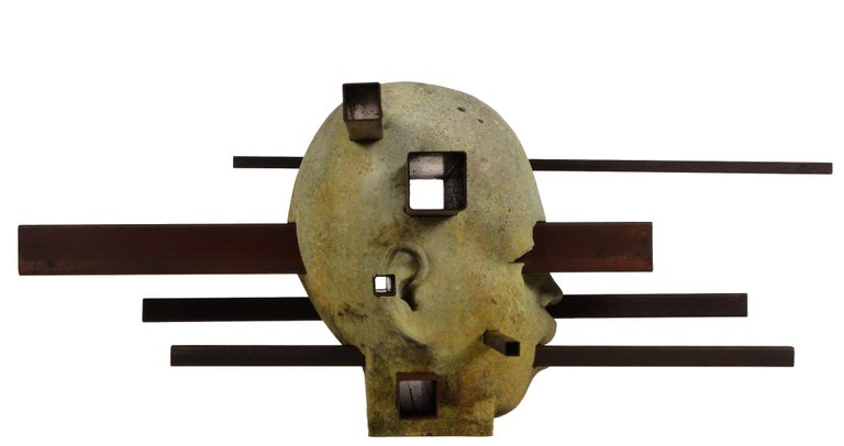 Interaction - Abstracted Bronze Bust, Rich Green Patina, Rusted Steel - Contemporary Sculpture by Jesus Curia Perez