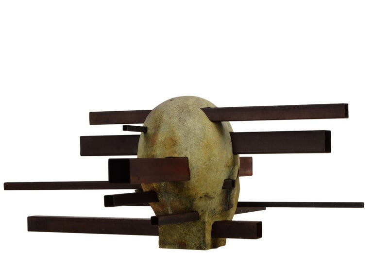 Interaction - Abstracted Bronze Bust, Rich Green Patina, Rusted Steel - Gold Figurative Sculpture by Jesus Curia Perez