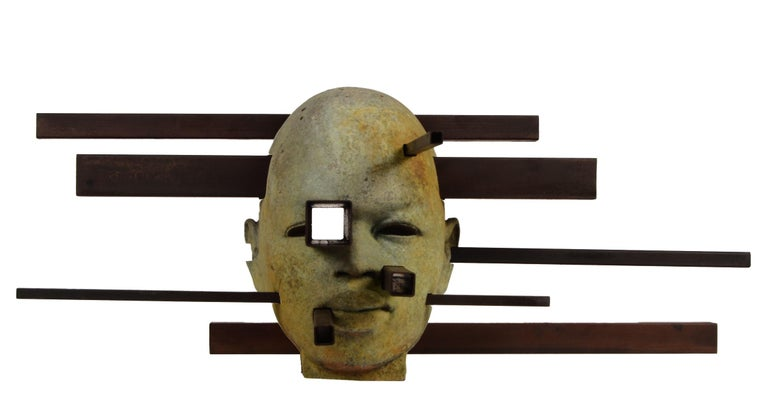 Jesus Curia Perez Figurative Sculpture - Interaction - Abstracted Bronze Bust, Rich Green Patina, Rusted Steel
