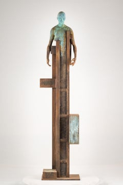 Mojado, 2016, Jesus Curiá, Figurative Art, Bronze and iron Sculpture, Brown