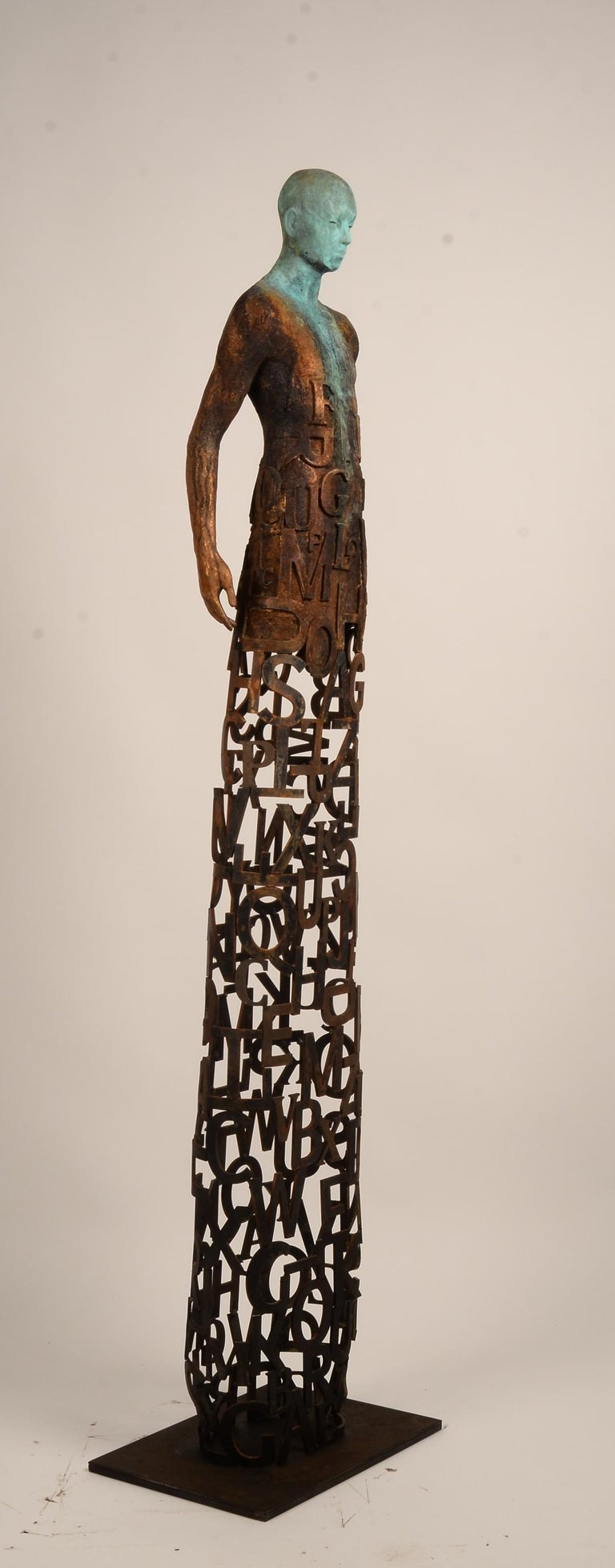 Nuntius - Bronze and Steel Sculpture with Figure and See Through