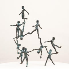 Puente II, 2017, Jesus Curiá, Contemporary Art, Bronze Sculpture, Green
