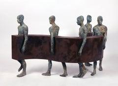 Sin Fin IV, Five Bronze Figures Walking Along a Steel Wave, Sculpture