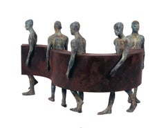 Sin Fin IV, Five Bronze Figures Walking Along a Steel Wave, Sculpture