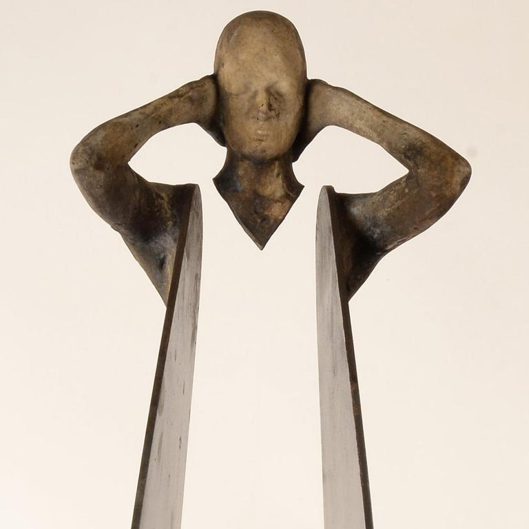 Sordo III - Gold Figurative Sculpture by Jesus Curia Perez