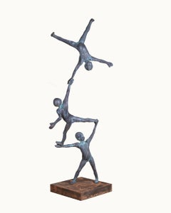 Trio III -  Bronze Indoor or Outdoor Large Sculpture with 3 Balancing Figures