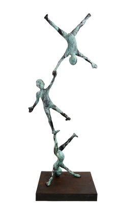 Trio VI - Monumental Bronze Sculpture With Three Balancing Acrobat Figures