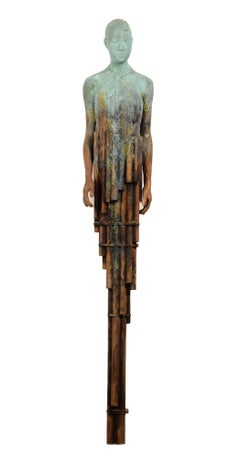 Tube II - Bronze Sculpture with Surreal Transfiguring Human Form and Lush Patina