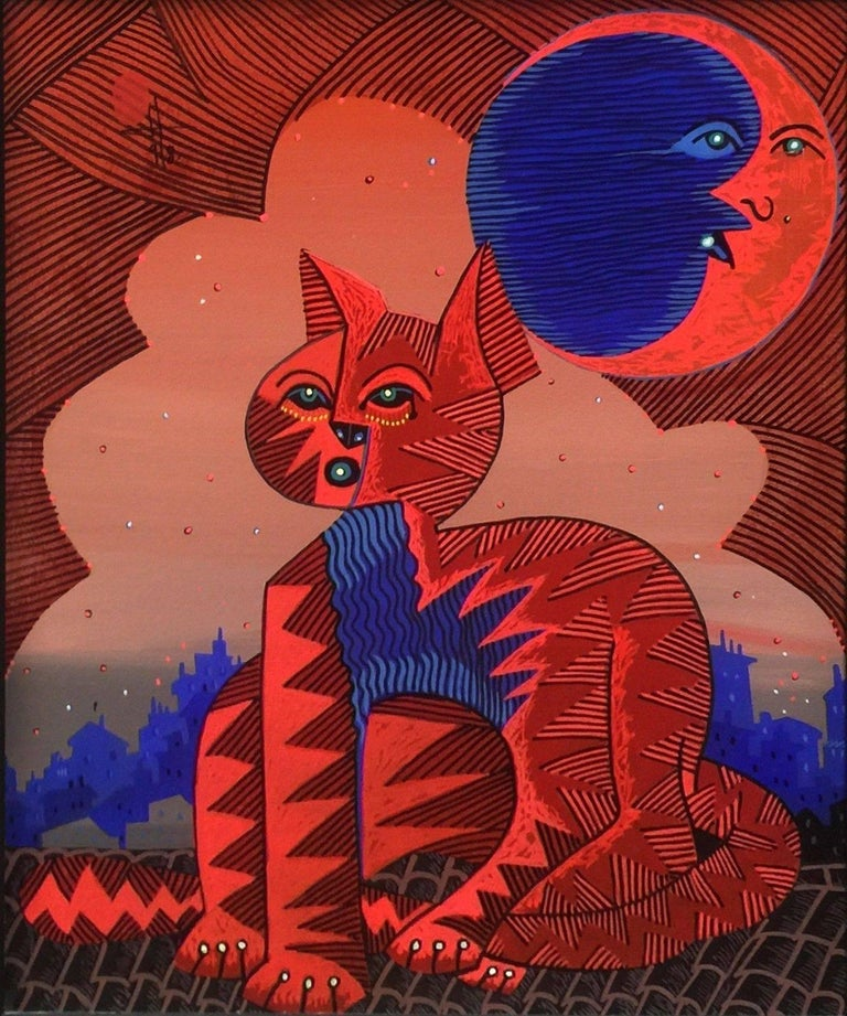 RED GATO - Painting by Jesus Fuertes
