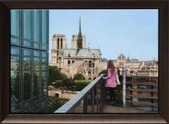 """Notre Dame Cathedral"", Jesus Navarro, Hyperrealism, 24x31, Original Oil Canvas"