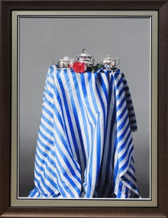 """Tea Time"", Jesus Navarro, Oil on Canvas, 39x28 in., PhotoRealism Still life"