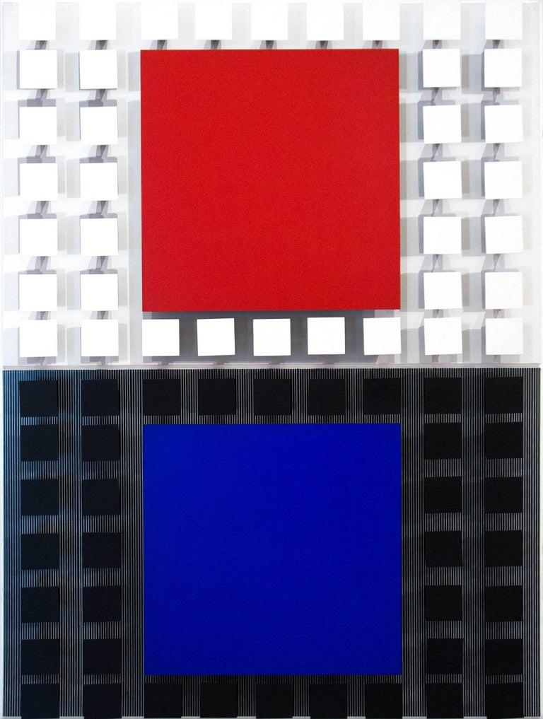 Jesús Rafael Soto  Abstract Painting - Azul con Rojo