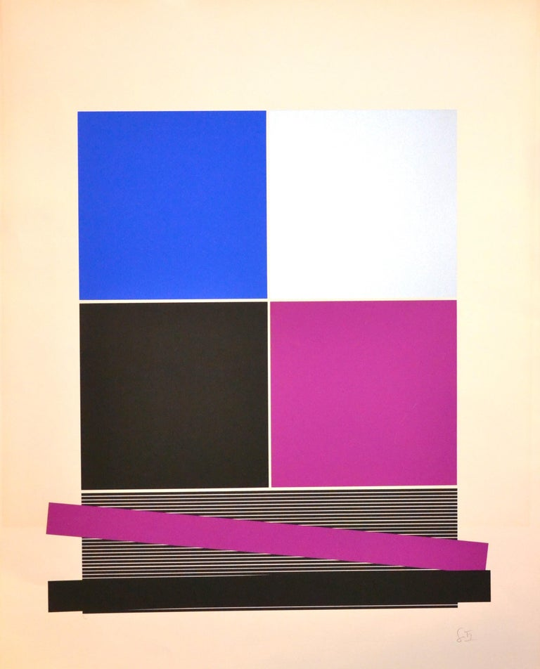 Jesús Rafael Soto  Abstract Print - Untitled, (Black And Silver), Original Screen Print 1970s