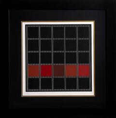 Red Row, Kinetic OP Art Silkscreen by Jesús Rafael Soto