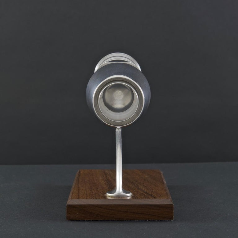 A wonderful presentation apprentice model of an aircraft jet engine (most likely an early version of the Bristol/Rolls Royce Olympus engine). This model is machined in polished aluminium and mounted on a hardwood plinth by a polished aluminium