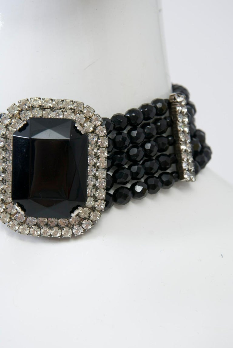 Jet and Rhinestone Choker In Good Condition For Sale In Alford, MA