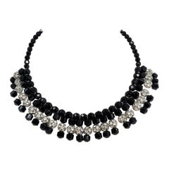 Jet Black and Clear pave Glass Ball and Bead Collar Necklace, Vintage Mid 1900s