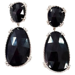Jet Black Drop Earrings Set with White Diamonds in 18 Karat White Gold
