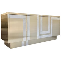 Jet Set Glam Vintage Credenza Clad in Stainless Steel