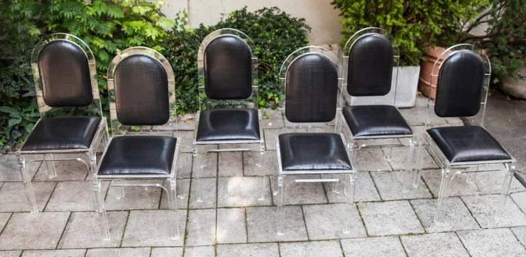 Set of 6 exclusive chairs, jet set style, plexiglass with black leather covers black from Bottega Veneta Italy, 1978.