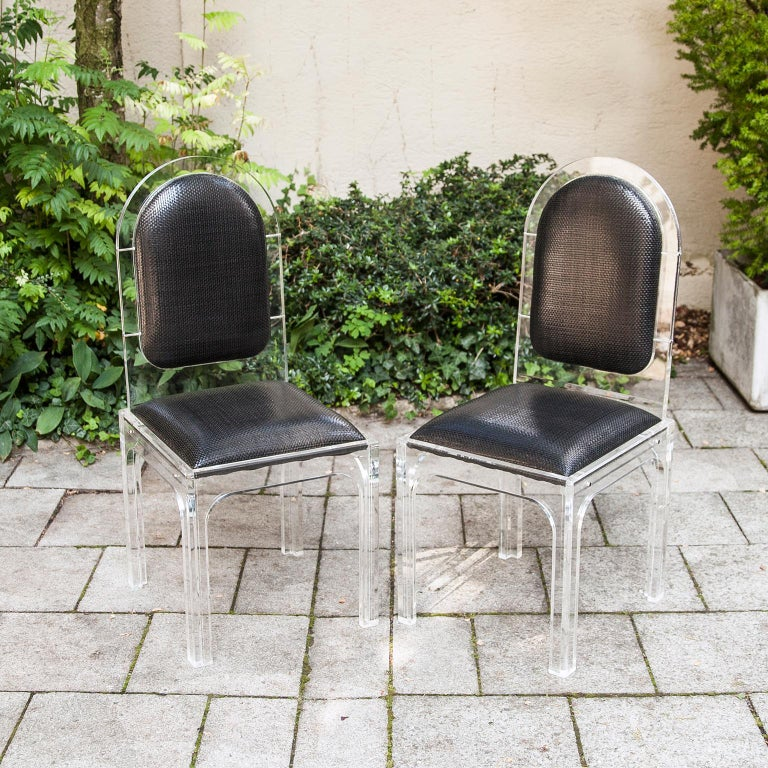 Hollywood Regency Jet Set Style Dining Chairs with Bottega Veneta Leather For Sale