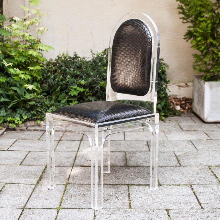 Italian Jet Set Style Dining Chairs with Bottega Veneta Leather For Sale