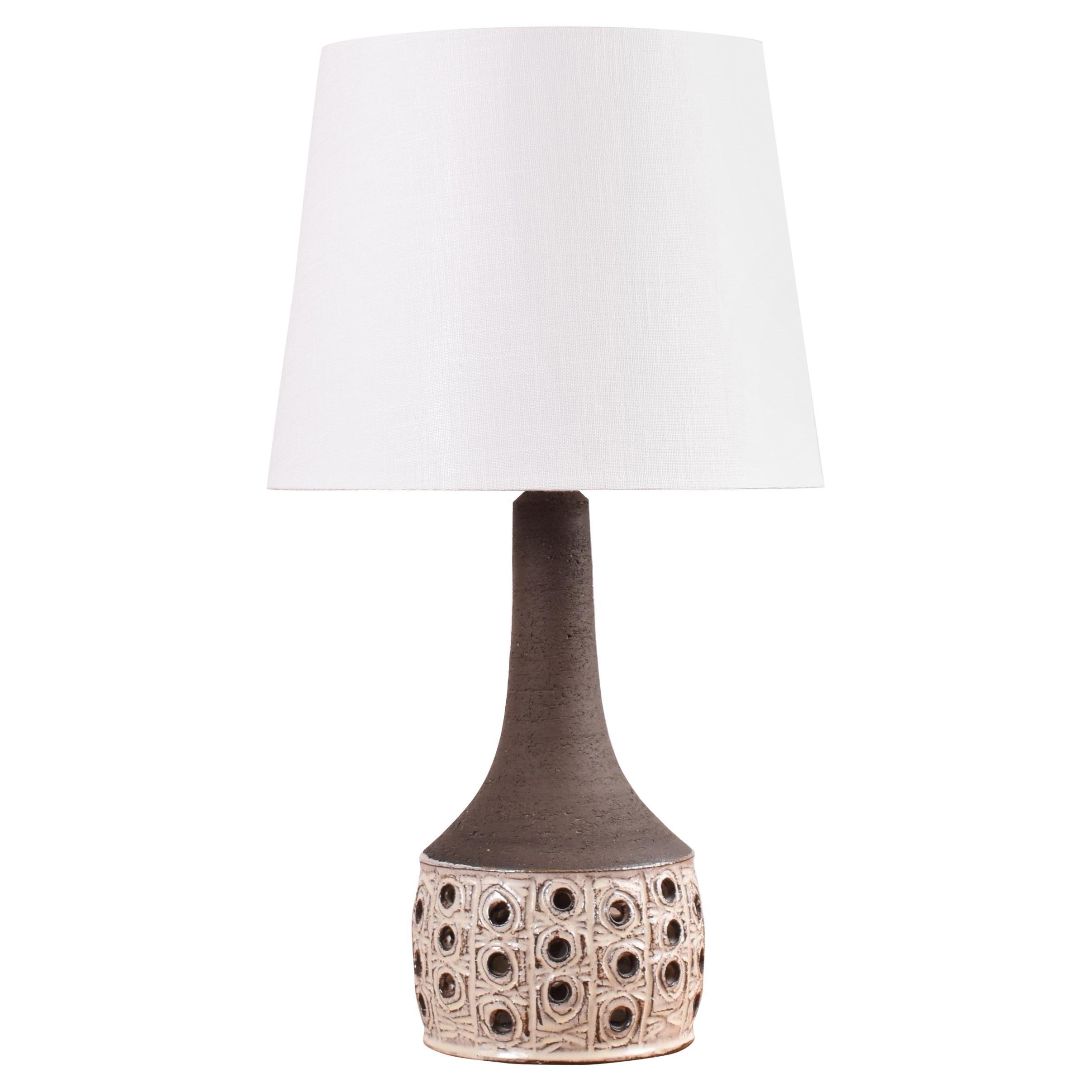 Jette Hellerøe Midcentury Danish Ceramic Table Lamp Beige and Brown, 1970s