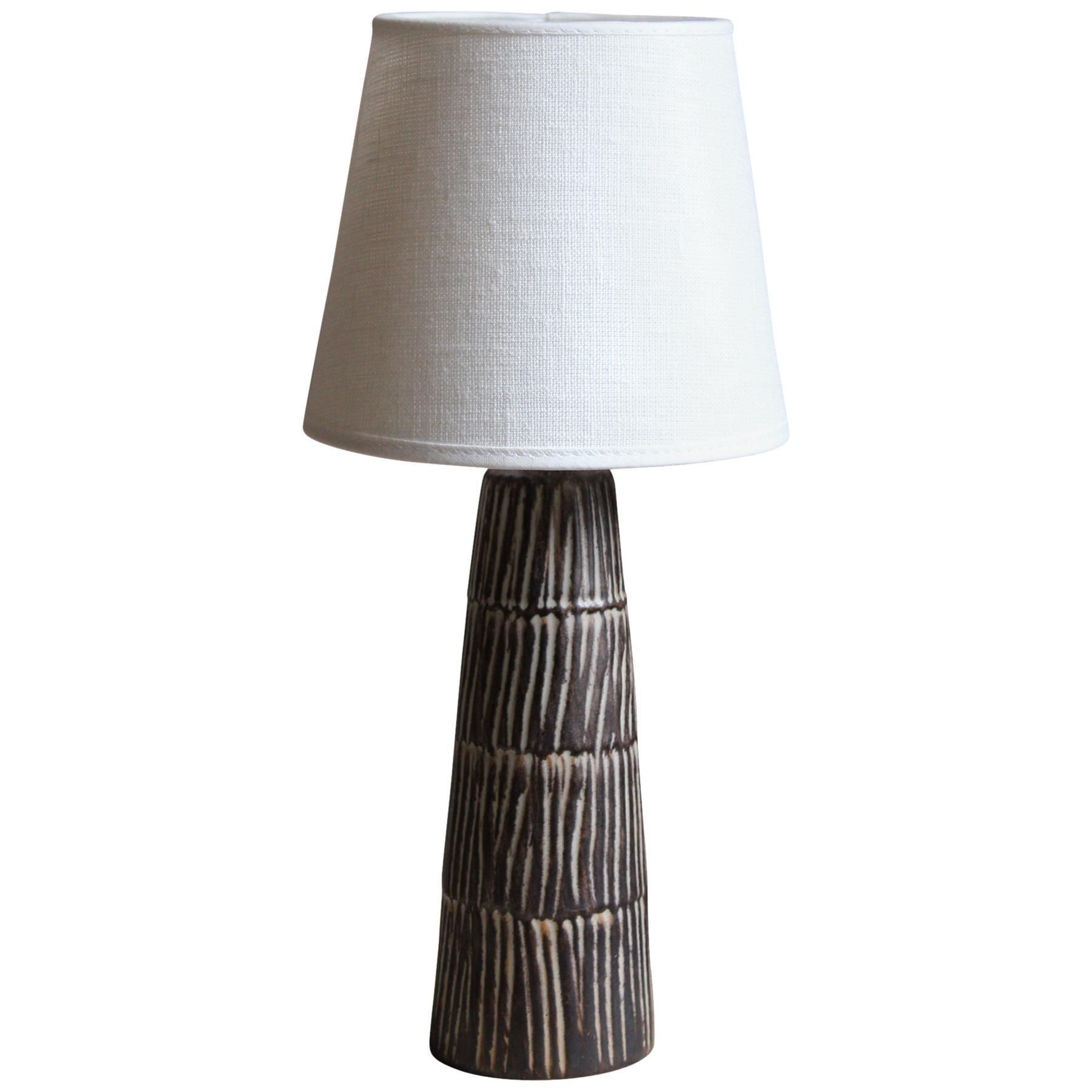 Jette Hellerøe, Small Table Lamp Glazed Stoneware, Denmark, 1950s