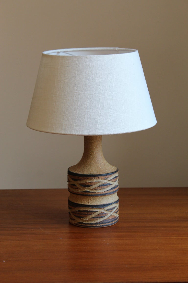 Mid-Century Modern Jette Hellerøe, Table Lamp Glazed Stoneware, Denmark, 1950s For Sale