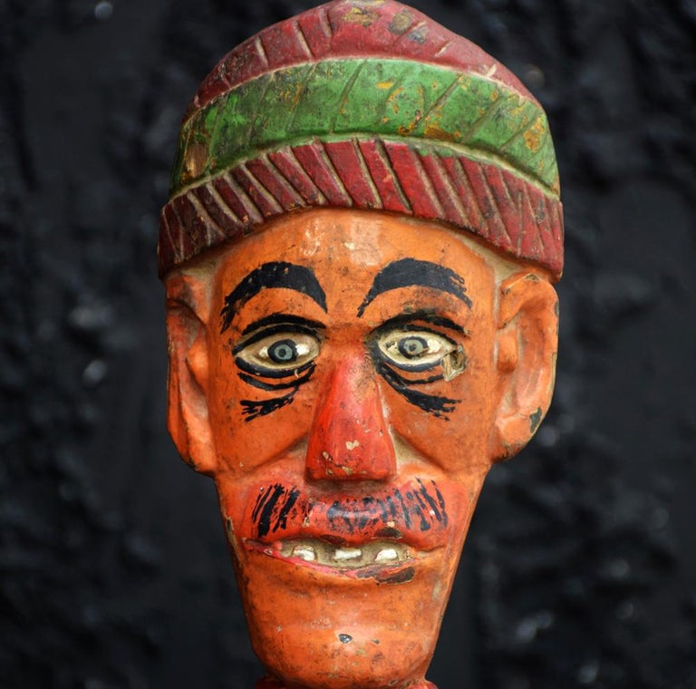 19th century carved wood pair of Jeu de Massacre Fairground antique  A set of super rare antique fairground knockdown artefacts (Jeu de Massacre) from France. These items are in overall wonderful original condition without any breaks or damage.