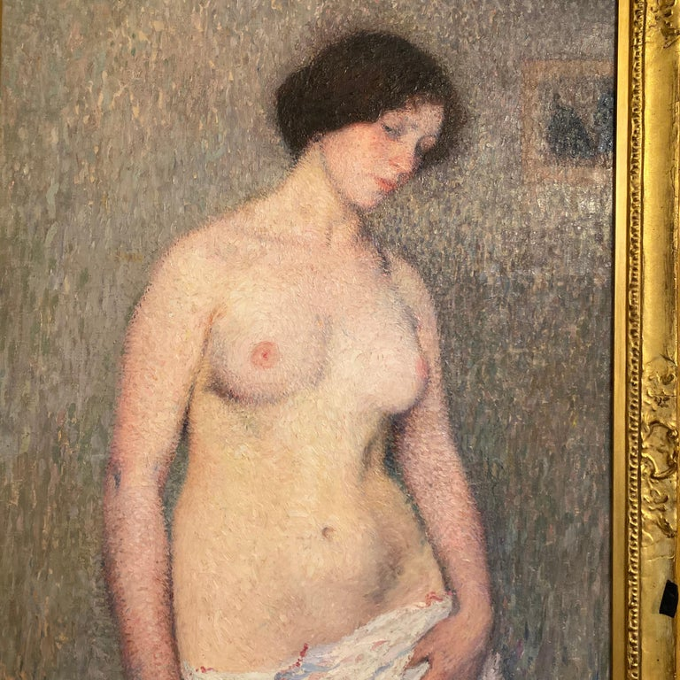 Henri Martin (1860-1943) Jeune femme nue signed 'Henri Martin.' (lower left) oil on canvas Measure: 51 5/8 x 31 ¾ in. (131.2 x 80.8 cm.)  Galerie Brame et Lorenceau, Paris. Private collection, Italy; sale, Christie's, London, 26 June 2001,