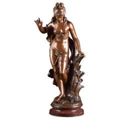 Jeune Fille Et Oiseau, a Large French Bronze Sculpture, Math. Moreau '1822-1912'