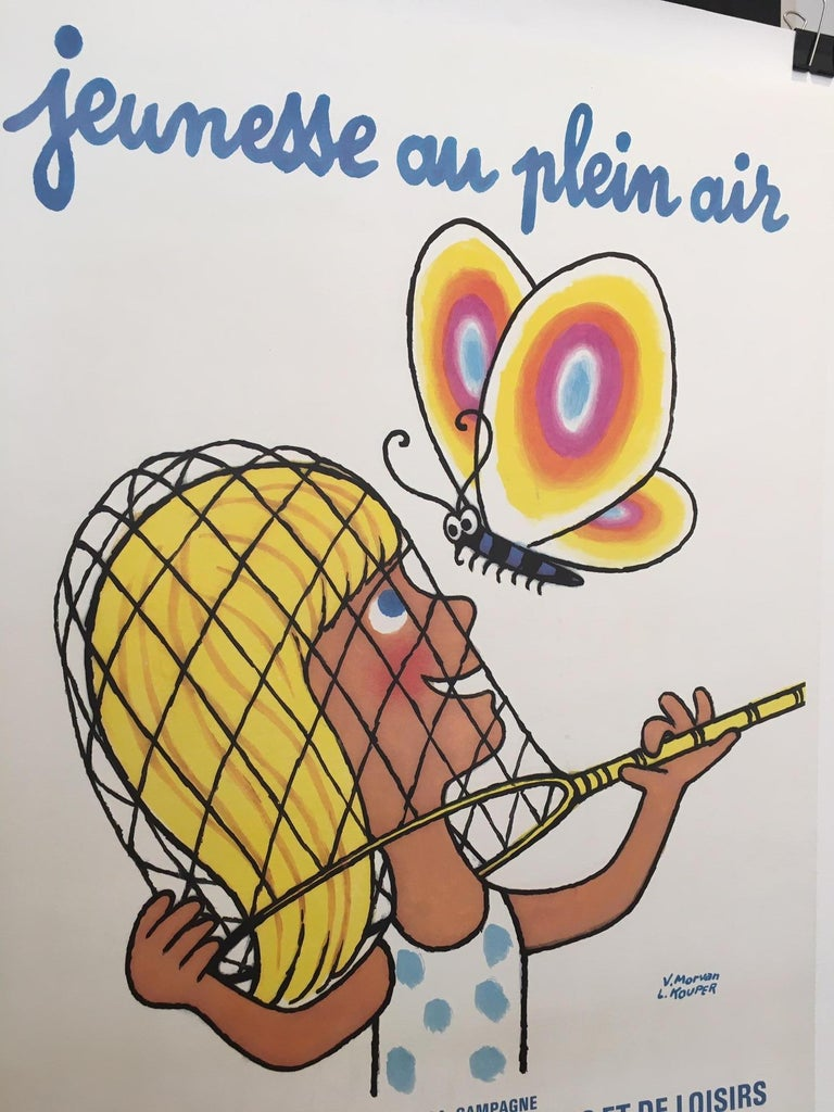 'Jeunesse au Plein Air', by V. Morvan, original vinage French poster  V. Morvan was the daughter of the very famous French artist, Herve Morvan. They share a similar style, this poster is linen backed for preservation.   Artist V. Morvan and L.