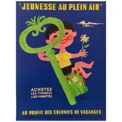 Jeunesse Au Plein Air with Key Original Vintage Poster