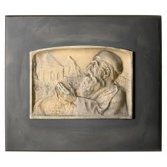 Jew at the Tomb of Zechariah-Bronze Plaque by Moshe Murro for Bezalel, Jerusalem