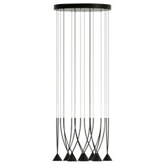 Jewel 10 Modern Italian Eco-Friendly Multi-Lamp Pendant in Black