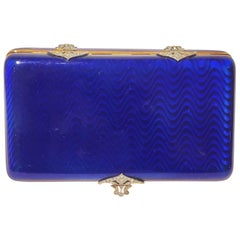 Jewel Box 18 Karat Yellow Gold Blue Enamel and Diamonds