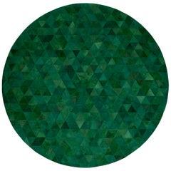 Jewel green Round Trilogia Emerald Customizable Cowhide Area Rug X-Large