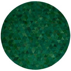 Jewel green RoundTrilogia Emerald Customizable Cowhide Area Rug Medium