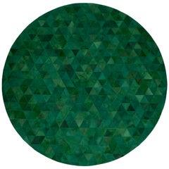 Jewel green Round Trilogia Emerald Customizable Cowhide Area Rug Medium