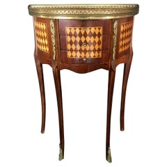 Jewel of a French Diamond Marquetry Side Table or Nightstand