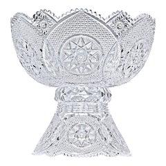 Jewel Pattern Cut Glass Punch Bowl by Meriden