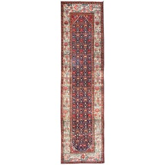 Jewel-Toned Antique Persian Malayer Long Runner with All-Over Geometric Design