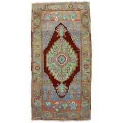 Jewel Toned Antique Turkish Yastik Rug Mat