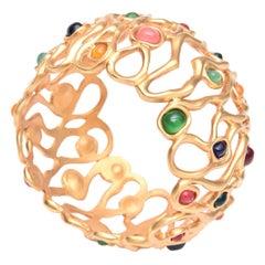Jewel Toned Stones Cuff Bracelet